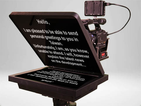 Teleprompter in front of the camera